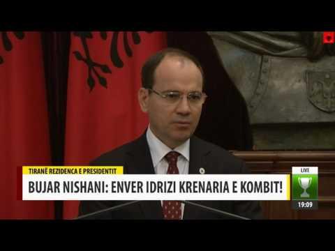 Dekorimi i Enver Idrizit nga presidenti i Shqiperise Bujar Nishani TVM2