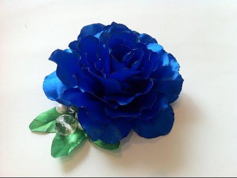 Ролик Брошь Синяя роза из атласных лент в технике цумами канзаши своими руками. Brooch Blue rose