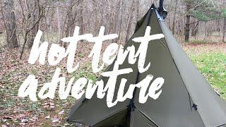 Hot Tent Adventure in the Rain & Sleet