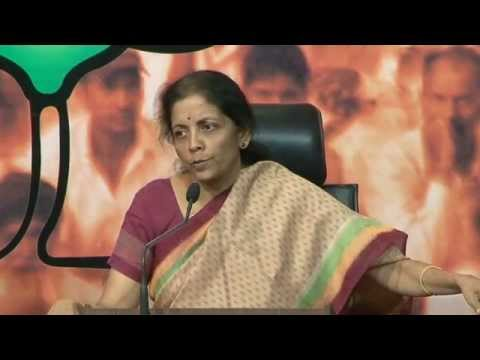 BJP Press by Smt. Nirmala Sitharaman on vessels caught with arms & ammunition in Indian waters.