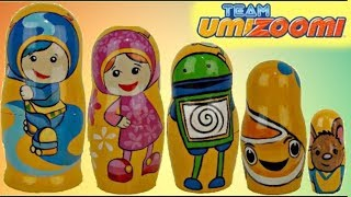 NICK JR. Team Umizoomi Nesting Matryoshka Dolls / Milli, Geo, Bot, UmiCar, Plush Toy Surprise / TUYC