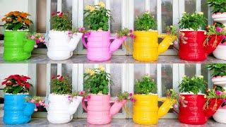 Vasos de Flores Maravilhosas de Chaleira Feitas com Garrafas Pet
