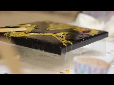 Easy Resin Pour art on Gold Leaf tutorial Amazing video