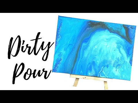 Ocean Blue Fluid Acrylic Painting Pour / Dirty Pour Flip Cup Technique
