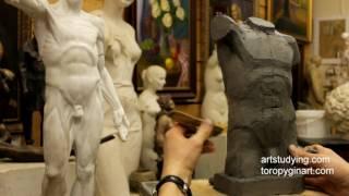 Лепка обрубовки торса (8) - Обучение скульптуре. Фигура, 13 серия