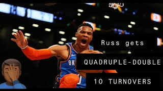 Russell Westbrook Gets A QUADRUPLE-DOUBLE In Loss Vs Bulls