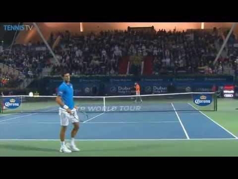 Roger Federer Blistering Backhand Hot Shot Dubai Final 2015