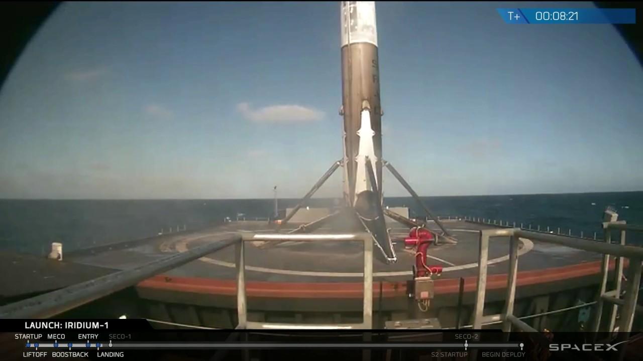 incredible spacex landing following iridium launch january 14 2017 youtube