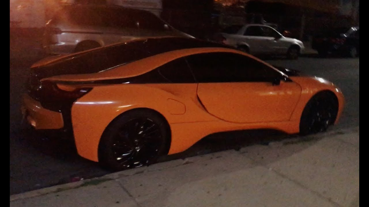 Presenting Bmw I8 In Orange And Black At Night Youtube