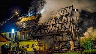 SCHEUNE IN VOLLBRAND - [FLAMMEN GREIFEN ÜBER] - 100 FEUERWEHRLEUTE im GROSSEINSATZ