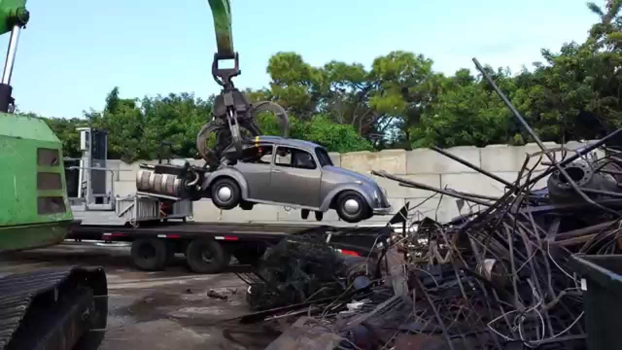 Vw Bug Goes To The Crusher Lol Youtube