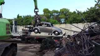 VW bug goes to the crusher lol