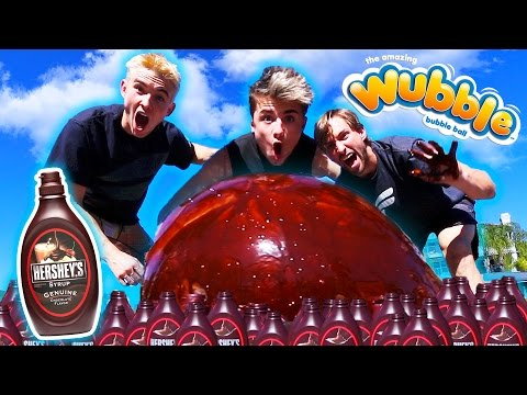 WUBBLE BUBBLE VS HERSHEY CHOCOLATE SYRUP WITH FUNK BROS! 😱 EXPERIMENT! *COPS CALLED*