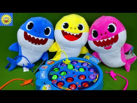 baby-shark-let's-go-hunt-fishing-kids-game-daddy-mommy-shark-toys-learning-colors-video-for-toddlers