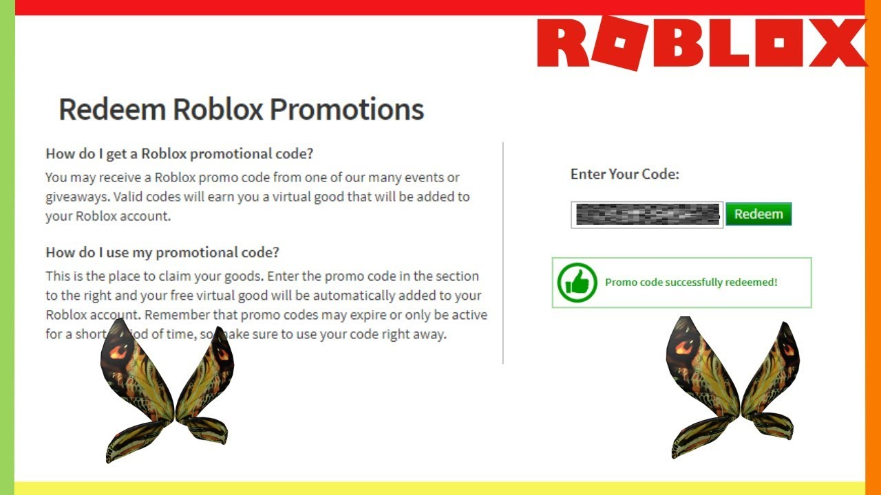 Free Wings Roblox Promo Code Youtube