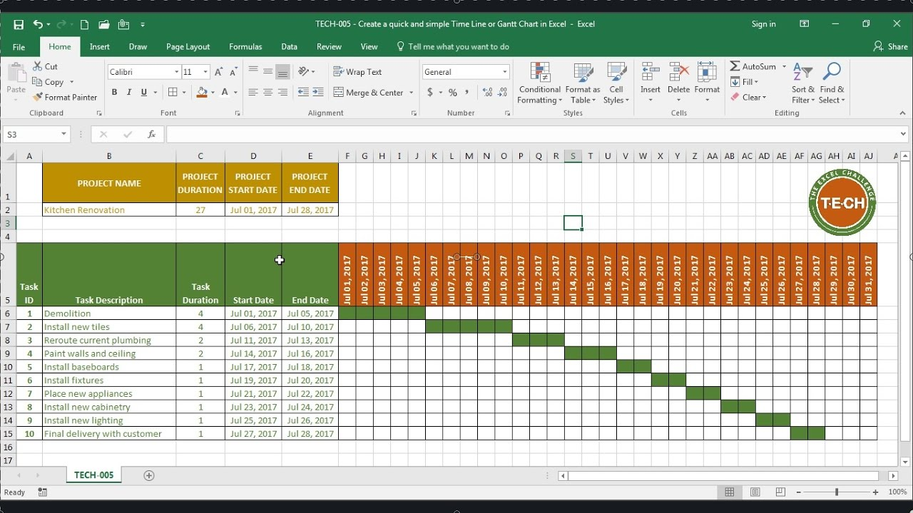 tech 005 create a quick and simple time line gantt chart in