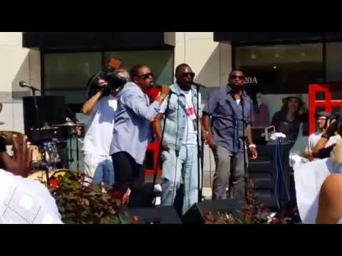 90s R&B group Intro performing