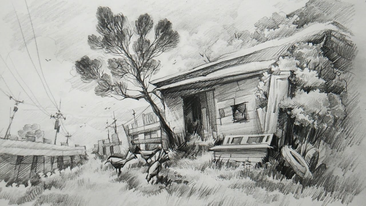 How to draw a simple small wooden house with pencil