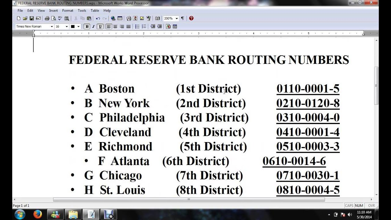 Fed  Reserve Routing Numbers (list) - YouTube