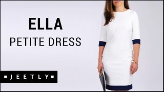 Petite white dress - Ella white dress with blue trim by Jeetly