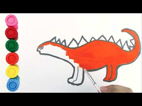 Best Dinosaur coloring and drawing for Kids, Toddlers | Learn Colors | Tommy Painting Art 💖