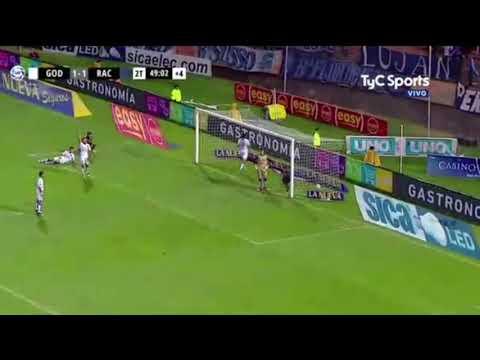 Gol de Racing. Godoy Cruz 1-2 Racing. Superliga Argentina