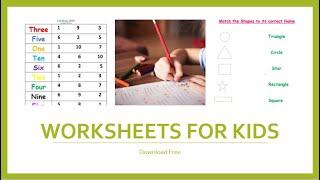 Number and Shape Worksheets For Kids| Free Activity Worksheets For PREP,  Nursery, LKG, UKG kids