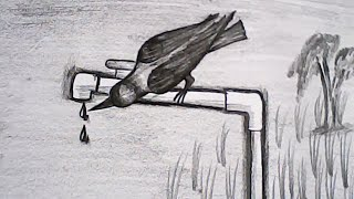 How to draw a bird crow easy and simple steps | mazic writer