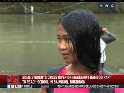 Students in Bukidnon cross river to go to school