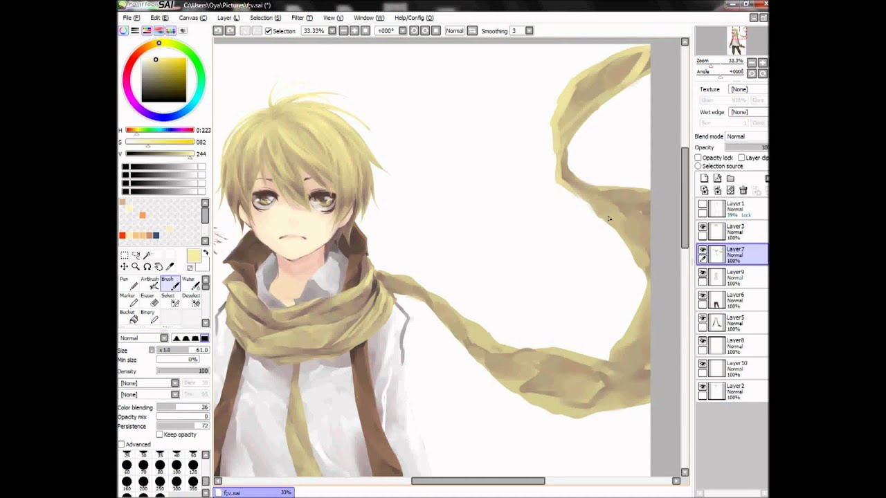 anime manga boy flavus drawing with paint tool sai