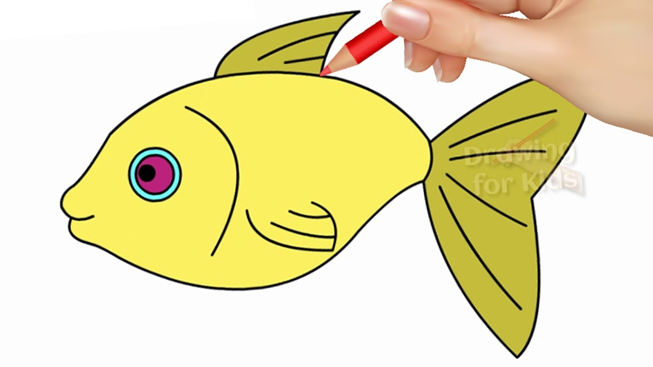 how to draw fish step by step and coloring pages for kids