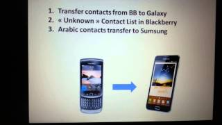 Transfer Contacts Blackberry - Galaxy + Unknown Contact List + Problem arabic Contacts