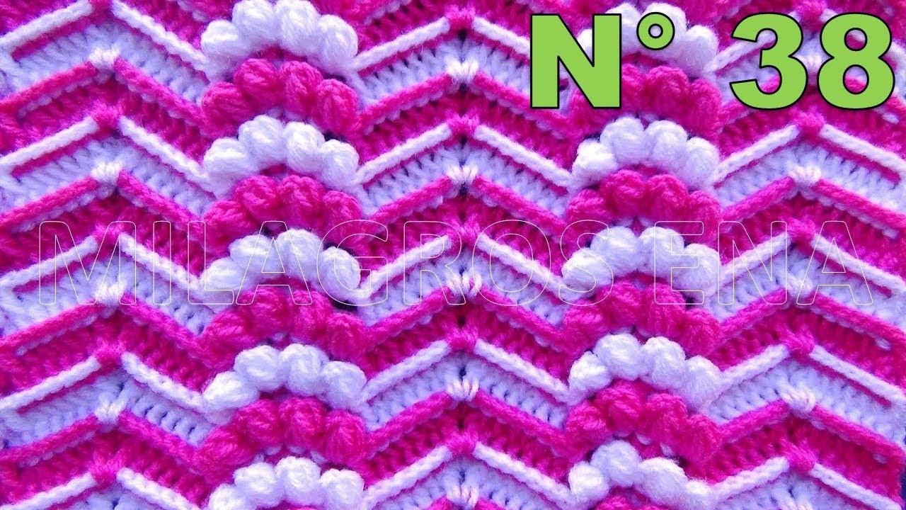 Punto a Crochet Zig Zag en Relieves combinado con Abanicos de ...
