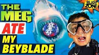 The Meg Ate My Beyblade!  Megalodon Funny Battle & Movie Spoof