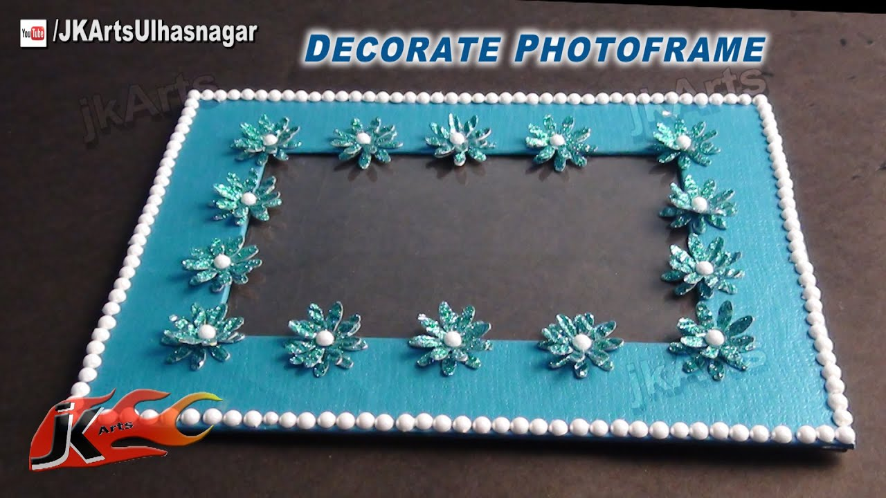 Diy decorate photo frame with embossing glitter paper for Fomic sheet decoration youtube