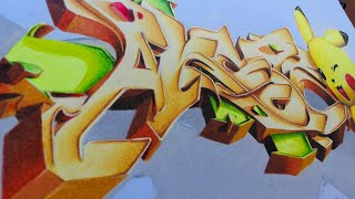 Graffiti Sketch wild style en 3D vol.4 graffiti en 3D with pikachu drawing