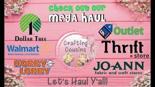 THRIFT HAUL | CRAFTING HAUL  Dollar Tree, Walmart, Hobby Lobby,  JoAnn & three Thrift Stores