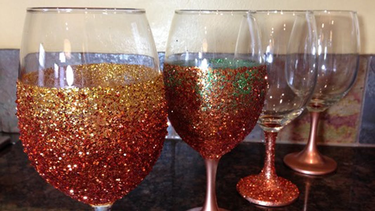 Diy glitter glasses youtube How to make wine glasses sparkle