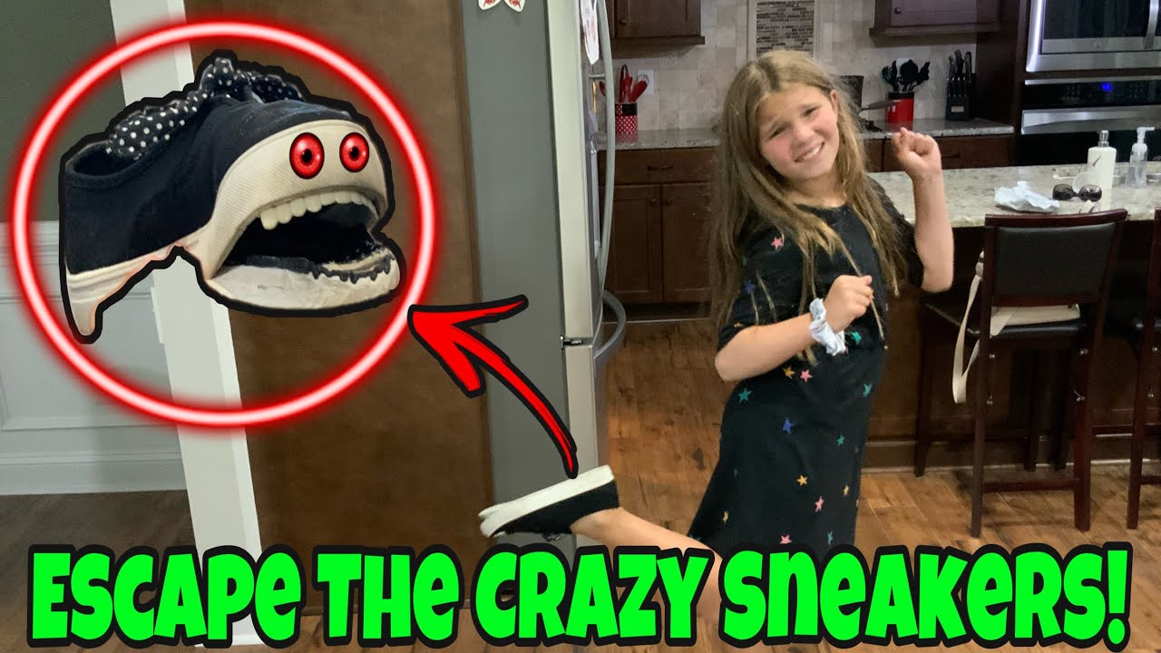 Crazy Sneakers Controlling Carlie Part 2! Escape The Crazy Shoes From Sqeazy Toys!