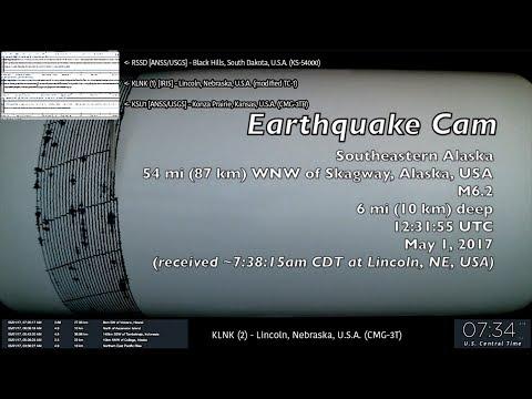Earthquake Cam - Skagway, Alaska M6.2 & M6.3 . 5.1.2017 ( 地震ウェブカメラ )