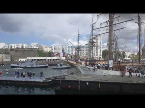 La Hermoine Arrives In Port De Brest, Brittany