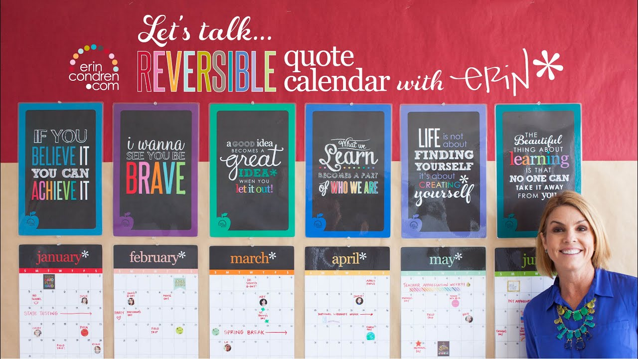 Calendar Design Quote : Erin condren let s talk reversible quote calendar youtube