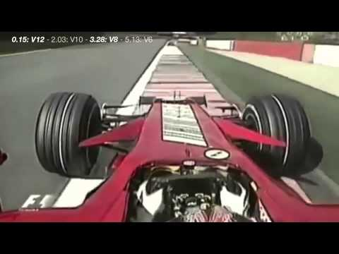 F1 Engine Sound Evolution: Ferrari - V12/V10/V8/V6