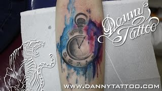 Relogio aquarela (Clock WaterColor Tattoo) Time Lapse - Danny Tattoo