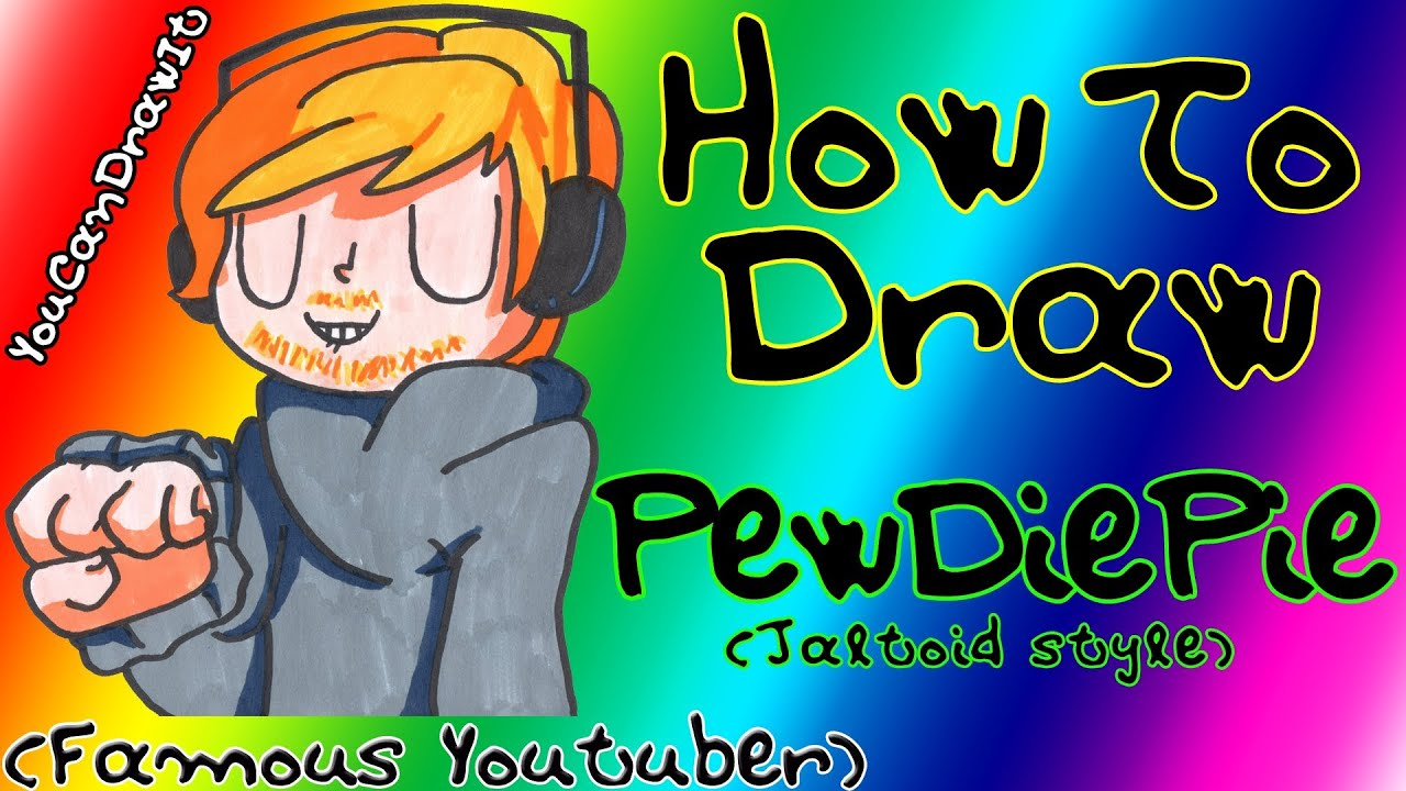 How To Draw Pewdiepie Jaltoid Style Famous Youtuber