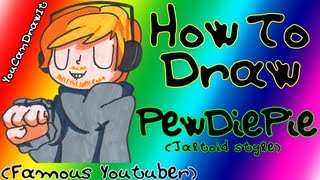 How To Draw Pewdiepie (Jaltoid style) ✎ Famous Youtuber ✎ YouCanDrawIt ツ 1080p HD