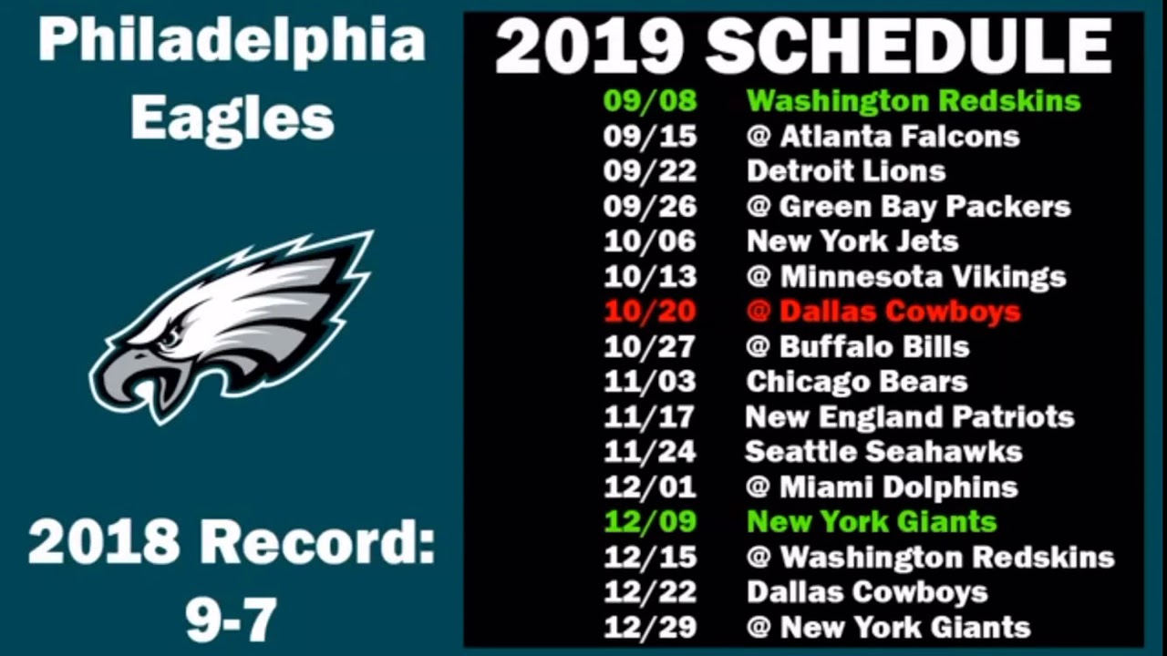 Lions Schedule 2020.Philadelphia Eagles 2019 2020 Schedule