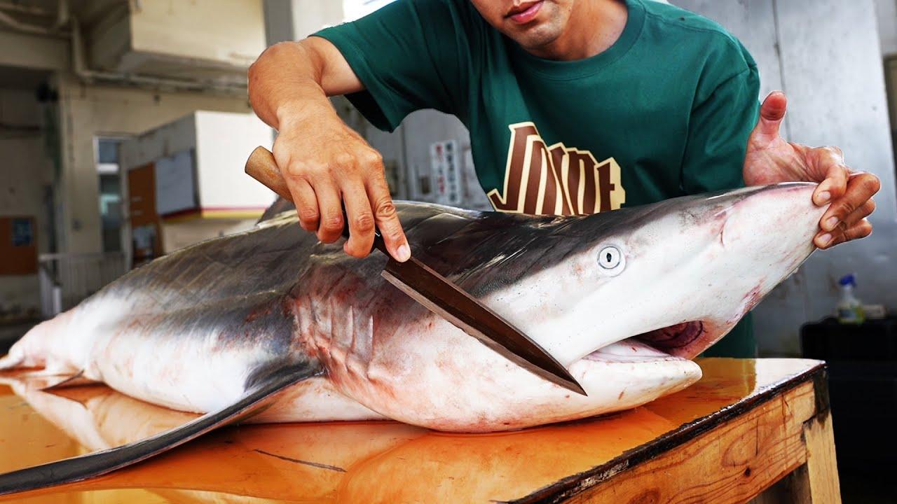 2m超えのサメをさばいてハンバーガーにしてみた