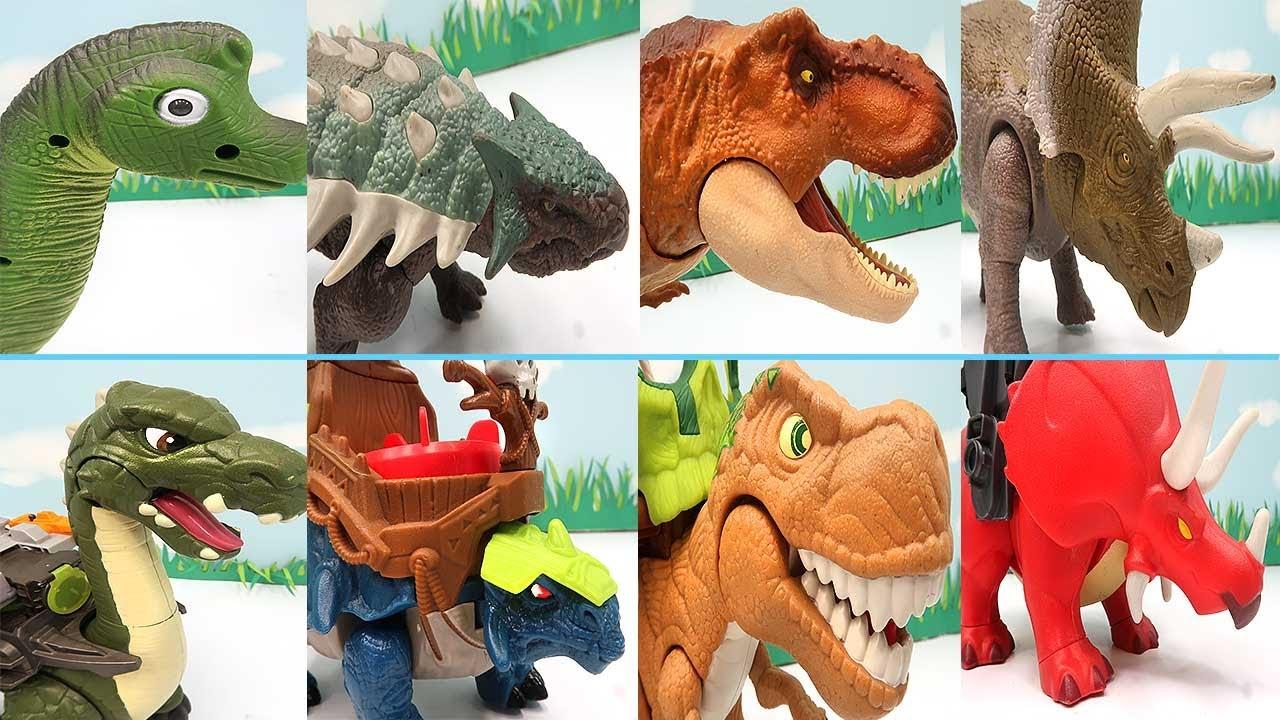 8 Dinosaurs Transformer Dino Robot! T-Rex, Triceratops, Stegosaurus, Apatosaurus
