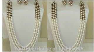 How To Make Latest Pearl Chain Jewellery||Kundan Jewellery..!